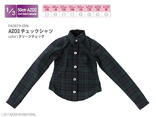 Azone FAO079-GRN Azo 2 Check Shirt Green Check