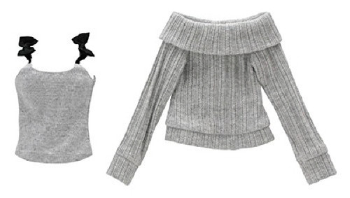 Azone FAR193-GRB for 50cm doll Ribbon Cami & Off Shoulder Knit Set Gray x Black