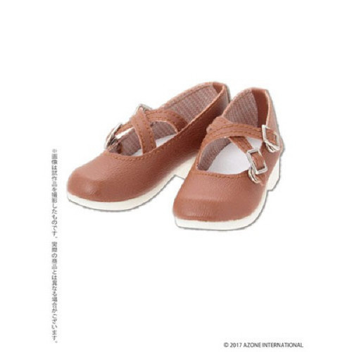 Azone FAR223-BRN for 50cm doll Cross Strap Shoes Brown