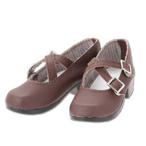 Azone FAR223-DBR for 50cm doll Cross Strap Shoes Dark Brown