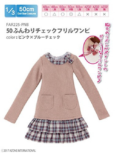 Azone FAR225-PNB for 50cm doll Fluffy Check Frilled Dress Pink x Blue Check