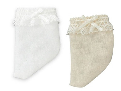 Azone KPT009-AST Mushroom Planet 'Lace & Ribbon Socks Set' White/Beige