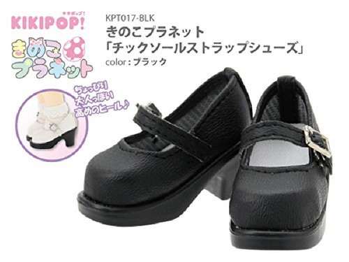 Azone KPT017-BLK Mushroom Planet 'Tic Soole Strap Shoes' Black