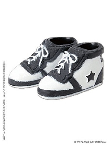 Azone PIC137-BKW 1/12 Soft Vinyl High-Cut Sneaker Black x White
