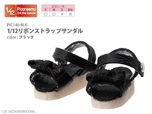 Azone PIC146-BLK 1/12 Ribbon Strap Sandals Black