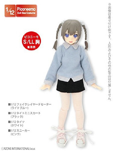 Azone PIC179-LBL 1/12 Fake Layered Sweater Light Blue