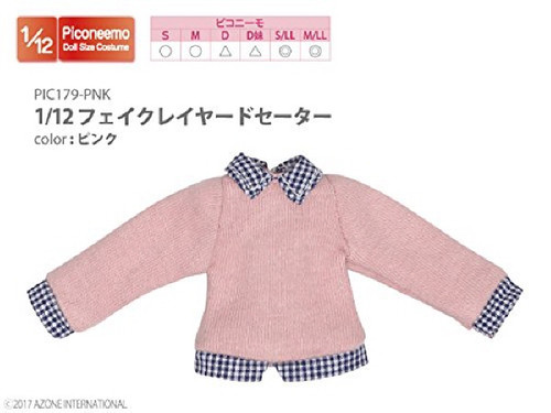 Azone PIC179-PNK 1/12 Fake Layered Sweater Pink