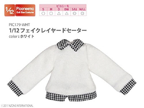 Azone PIC179-WHT 1/12 Fake Layered Sweater White