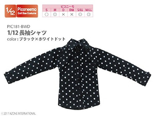 Azone PIC181-BWD 1/12 Long Sleeve Shirt Black x White Dot