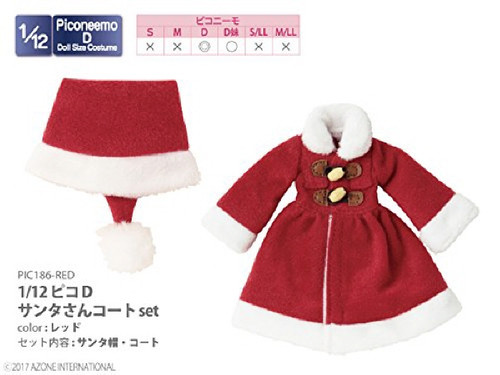 Azone PIC186-RED 1/12 Pico D Santa Coat Set Red