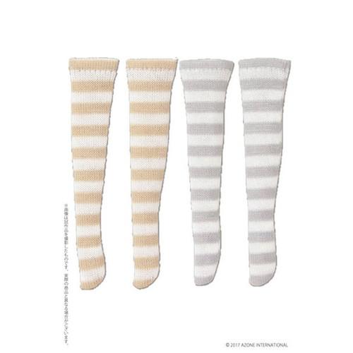 Azone PIC191-ASB 1/12 Border Socks B Set White x Beige, White x Gray