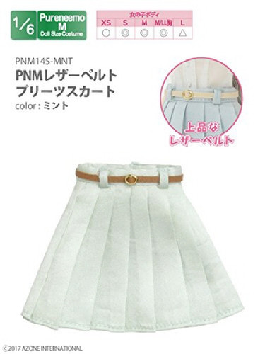 Azone PNM145-MNT PNM Leather Belt Pleated Skirt Mint