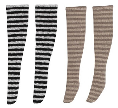 Azone POC405-ASA PNS Border Knee Socks III A Set White x Black /Brown x Beige