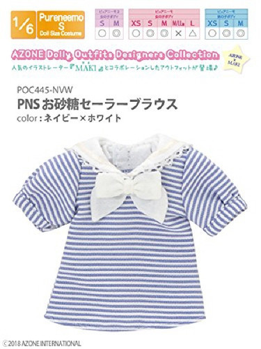 Azone POC445-NVW PNS Sugar Sailor Blouse Navy x White