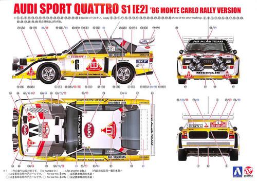Aoshima 03982 Audi Sport Quattro S1 E2 '86 Monte Carlo Rally Ver. 1/24 scale kit