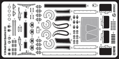 Aoshima 03999 Detail Up Parts for Audi Sport Quattro S1 E2 '86 Monte Carlo Rally Ver. 1/24 scale