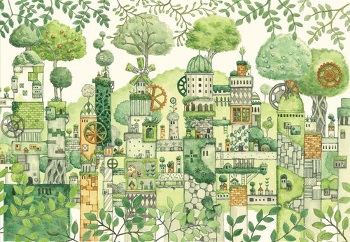 Epoch Jigsaw Puzzle 26-298 Noriko Nishimura Fairy Tale Art Green Civilization (300 Pieces)