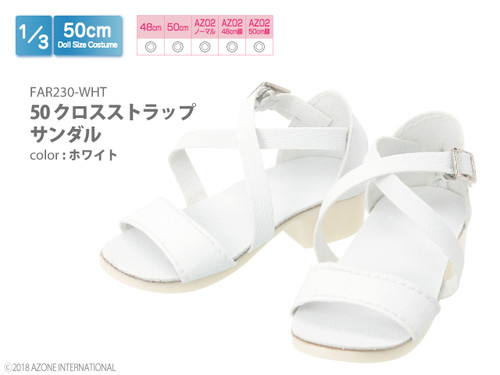 Azone FAR230-WHT 50cm doll Cross Strap Sandals White