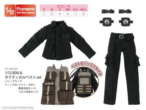 Azone PIC198-BLK 1/12 Picco Neemo BDU & Tactical Vest Set Black