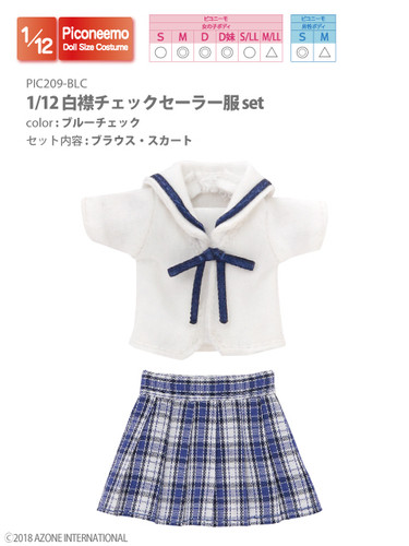 Azone PIC209-BLC 1/12 Picco Neemo Sailor School Uniform Blue Check