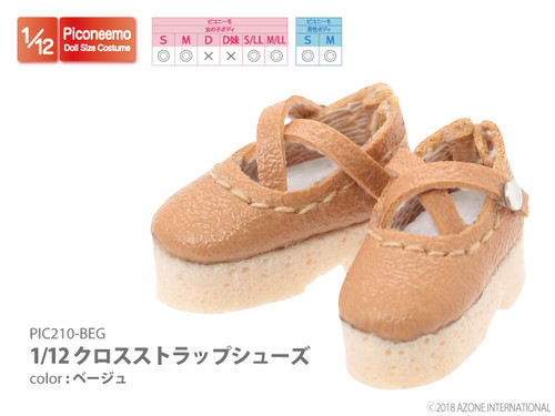 Azone PIC210-BEG 1/12 Picco Neemo Cross Strap Shoes Beige