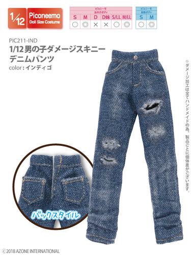 Azone PIC211-IND 1/12 Picco Neemo Boy Ripped Skinny Denim Pants Indigo