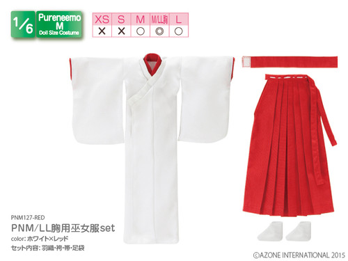 Azone PNM127-RED 1/6 Pure Neemo M LL Bra Size Miko Shrine Maiden Costume White x Red