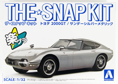 Aoshima 56295 Toyota 2000GT Thunder Silver Metallic 1/32 Scale Pre-painted Snap-fit Kit