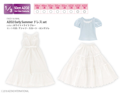 Azone FAO116-WHL 50cm AZO2 Early Summer Dress Set White x Light Blue