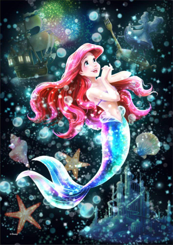 Tenyo Japan Jigsaw Puzzle DSG-266-961 Disney Little Mermaid Ariel Stained Glass (266 Pieces)