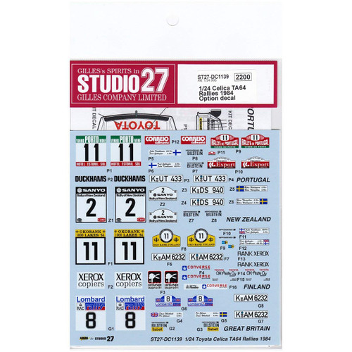 Studio27 ST27-DC1139 Celica TA64 Rallies 1984 Option Decal for Aoshima 1/24 Scale