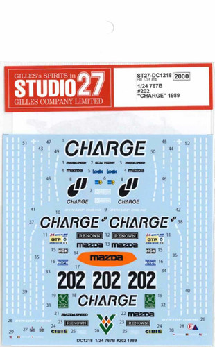 """Studio27 ST27-DC1218 767B #202 """"CHARGE"""" 1989 Decal for Hasegawa 1/24 Scale"""