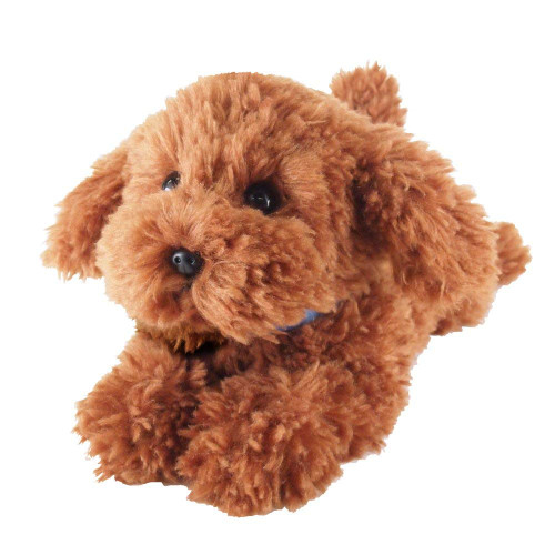 Sun Lemon Plush Doll Lap Dog Plush Hiza Wanko Toy Poodle Brown TJN