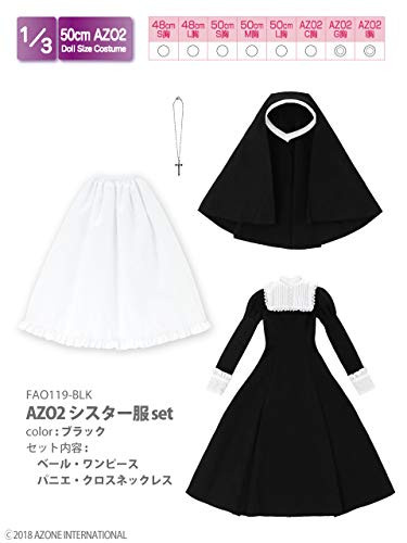 Azone FAO119-BLK 50cm AZO2 Nun Costume Set Black