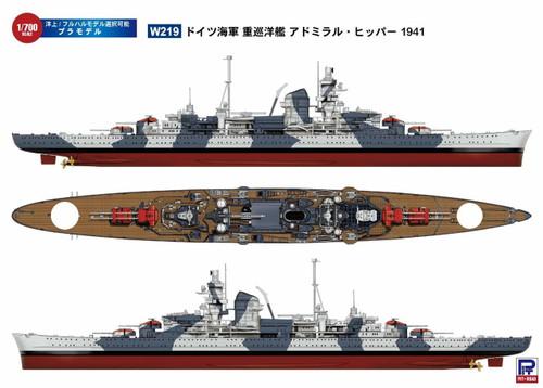 Pit-Road Skywave W-219 German Navy Heavy Cruiser Admiral Hipper 1941 1/700 Scale kit