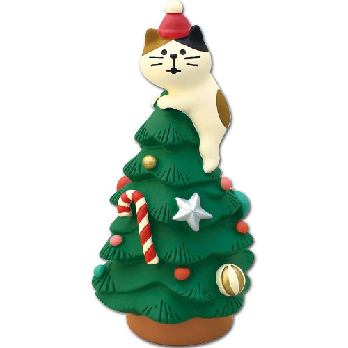 DECOLE Concombre Christmas Kitten Tree Green Mini Figure