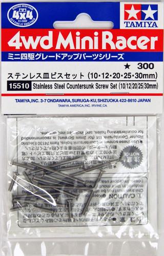 Tamiya 15510 Mini 4WD Stainless Steel Countersunk Screw Set (10,12,20,25,30 mm)