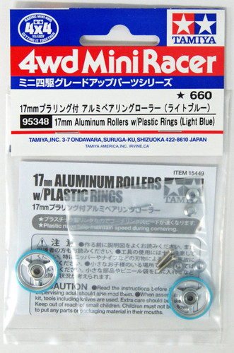 Tamiya 95348 Mini 4WD 17mm Aluminum Rollers W/Plastic Rings (Light Blue)