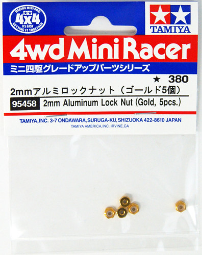 Tamiya Mini 4WD 95458 2mm Aluminium Locknut (Gold) 5 pcs.