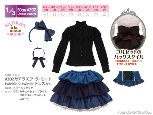 Azone FAO118-BLB 50cm AZO2 Sahra's a la Mode twinkle twinkle Dress Set Blue x Black