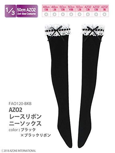 Azone FAO120-BKB 50cm AZO2 Lace Ribbon Knee-high Socks Black x Black Ribbon