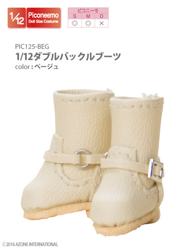 Azone PIC088-BRN 1/12 Picco Neemo Double Buckle Boots Beige