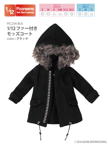 Azone PIC234-BLK 1/12 Picco Neemo Black Mods Coat with Fur