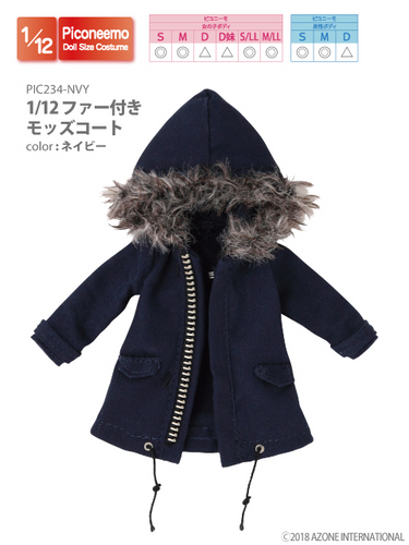 Azone PIC234-NVY 1/12 Picco Neemo Navy Mods Coat with Fur