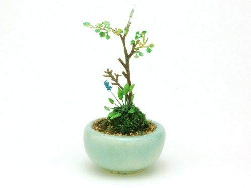 Platz BONN05 The Bonsai Marubachi Planting Light Blue 1/12 Scale Finished Model