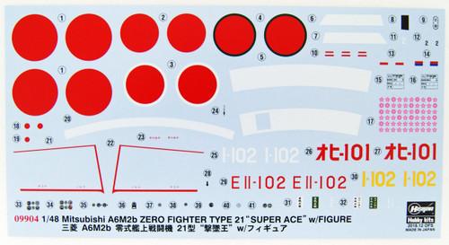 Hasegawa 09904 Mitsubishi A6M2b Zero Fighter Type 21 'Super Ace' w/ Figure 1/48 Scale kit