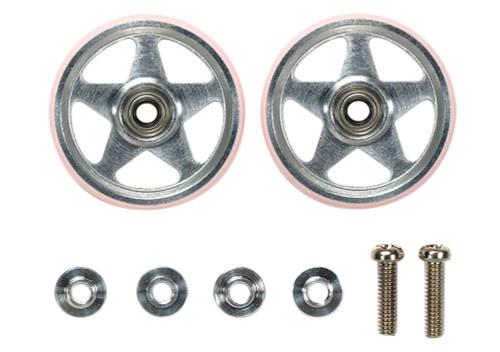 Tamiya Mini 4WD 95438 19mm Aluminum Rollers (5 Spokes) w/Plastic Rings (Pink)