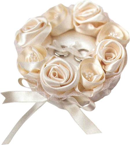 Hamanaka H431-121 Wedding Kit Wedding Rose Ring Pillow Champagne Gold