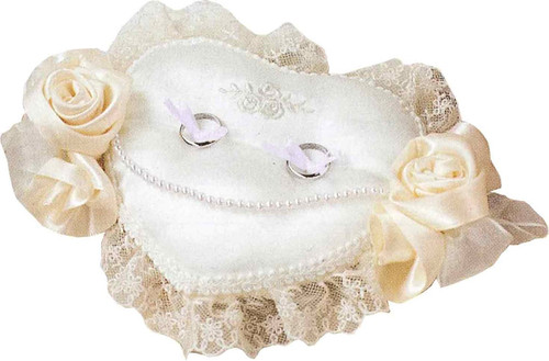 Hamanaka H431-126 Wedding Kit Wedding Rose Ring Pillow Heart with Embroidery