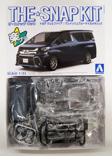 Aoshima 56332 Toyota Vellfire Grayish Blue Mica Metallic 1/32 Scale Pre-painted Snap-fit Kit